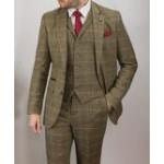 Cavani Men's Albert 3 Piece Suit  Brown