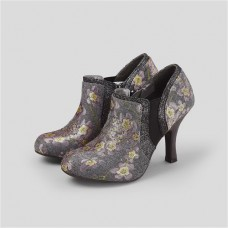 Ruby Shoo Juno (Grey Floral) Heeled Ankle Boot