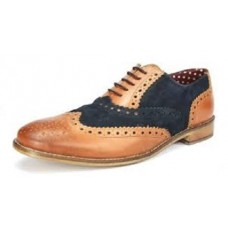 London Brogues Gatsby Leather Brogues Tan/Navy
