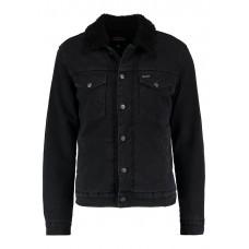 Mens Wrangler Sherpa Winter Jacket Black Overdye