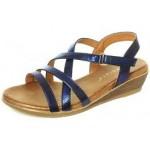Cipriata Ladies Crossover Strap Sandal Mettalic Blue Alessia