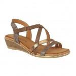 Cipriata Ladies Crossover Strap Sandal Mettalic Bronze Alessia