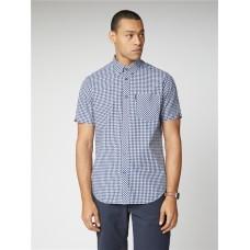 Ben Sherman Short Sleeve Gingham Dark Blue Shirt