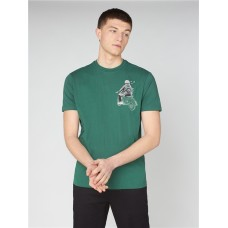 Ben Sherman Doodle Mod Tee Shirt Fraser Green