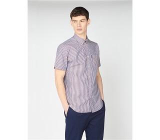 Ben Sherman Short Sleeve Shirt Gingham Mango