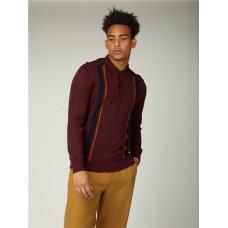 Ben Sherman Long Sleeve Knitted Mod Polo Shirt 049 Port