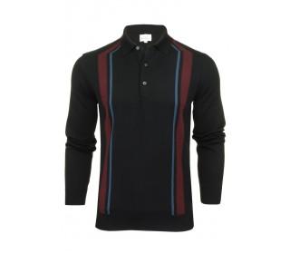 Ben Sherman Long Sleeved Mod Knitted Stripe Polo Shirt
