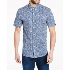 Ben Sherman Men's Floral Short Sleeved  Shirt in Ink Blue