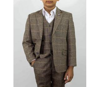 Cavani Albert Brown Tweed Check Boys Suit