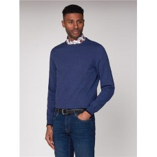 Ben Sherman Men's 100% cotton crew neck jumper with raglan sleeves and embroidered chest branding.Ink