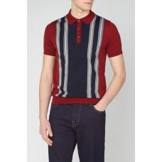 Ben Sherman Knitted Polo Shirt Stripe Panel 550 Red