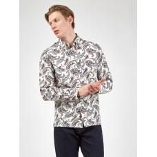 Ben Sherman Long Sleeved Shirt Button Down Paisley Ivory
