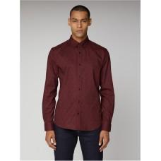 Ben Sherman Long Sleeved Paisley Print Shirt Wine