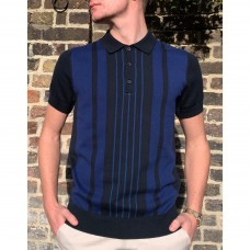 Ben Sherman Short Sleeve Knitted Polo Shirt Midnight