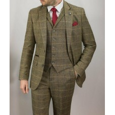 Cavani Men's Albert 3 Piece Suit  Brown
