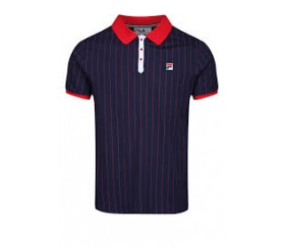Fila Vintage BB1 Mens Polo Shirt Peacoat/Turtdove/Red