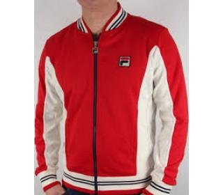 Fila Settanta Mens Baseball Track Jacket Red/Turtdove/White