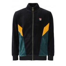 Fila Lane Colour Block Velour Track Jacket Black/June Bug/Goldenglow