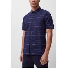 French Connection Horizontal Space Dyed Stripe Shirt Indigo 52QEK