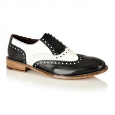 London Brogues Gatsby Leather Brogues Black/White