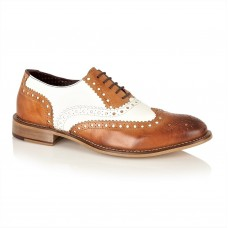 London Brogues Gatsby Leather Brogues Tan/White
