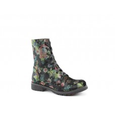 Heavenly Feet Ladies Ankle Boots Chloe Black Multi Floral Laces/Zip