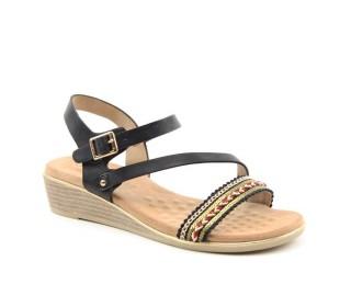 Heavenly Feet ladies Vegan friendly wedge sandals Garnet black