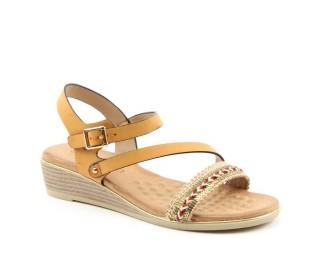 Heavenly Feet ladies Vegan friendly wedge sandals Garnet tan