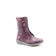 Heavenly Feet Ladies Mid Calf Boots Martina Purple Floral