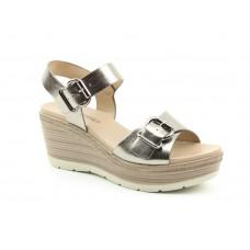 Heavenly Feet Juniper Pewter Wedged Heeled Sandals Ladies