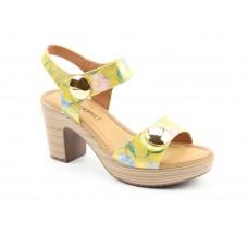 Heavenly Feet Sadie2 Heeled Sandals Yellow Floral Ladies