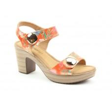 Heavenly Feet Sadie2 Heeled Sandals Orange Floral Ladies