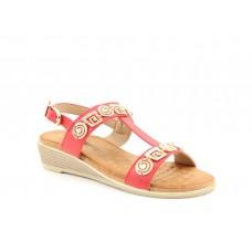 Heavenly Feet ladies Vegan friendly wedge sandals Pandora red