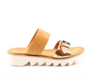 Heavenly Feet ladies Vegan friendly slip on sandals Rosie camel