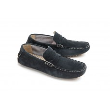 IKON Mens Jenson Leather Slip On Driving Shoes Navy