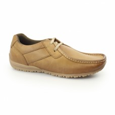 IKON Tide Mens Leather Lace Up Mocassin Shoes Tan