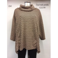 Made in Italy Cowl neck Poncho Brown Women's/ Ladies
