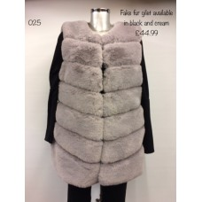 Made in Italy Faux Fur Gilet Cream Women's