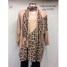 Long Sleeved Leopard Print Top with Scarf