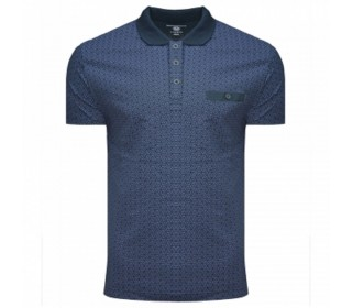 Men's Lambretta Geometric AOP Polo Shirt Navy