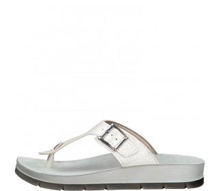 Marco Tozzi toe post sandal Metallic White