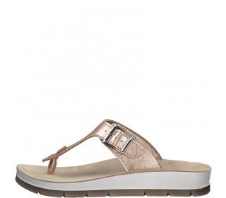 Marco Tozzi   women's toe post sandals metallic rose gold
