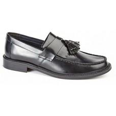 Roamers men's smart casual toggle saddle loafer Black