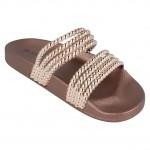 Spot On Ladies Slip On Sandals Gold