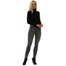 Toxik3 ladies high wasted skinny fit jeans grey