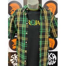 Trojan TC 1003 Black/Green Check Short Sleeved Shirt Men's