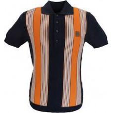 Trojan Records Navy/Orange Stripe Knitted Polo Shirt