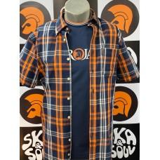 Trojan TC 1003 Navy/Orange Window Check Short Sleeved Shirt Men's