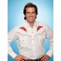 Ely Red Rose Men White Western Wear